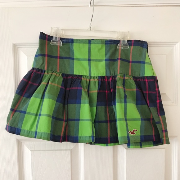 cf157b0cb Hollister Skirts | Green Plaid Skater Skirt | Poshmark
